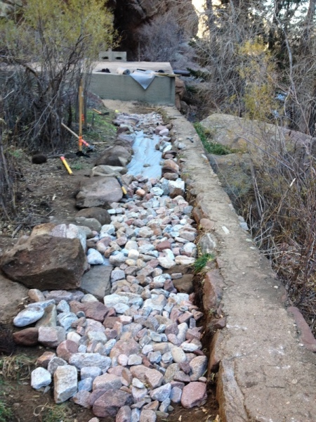 Second layer of geotextile laid in. Lining rocks added for trail definition, more grapefruit sized riprap.