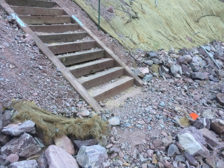 Base of the stairs - there's 10? 15? feet of gravel and rip-rap underneath that bottom stair.